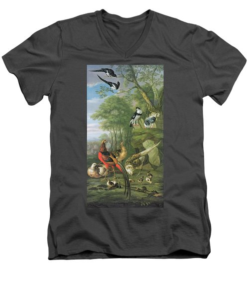 Cock Pheasant Hen Pheasant And Chicks And Other Birds In A Classical Landscape Men's V-Neck T-Shirt by Pieter Casteels