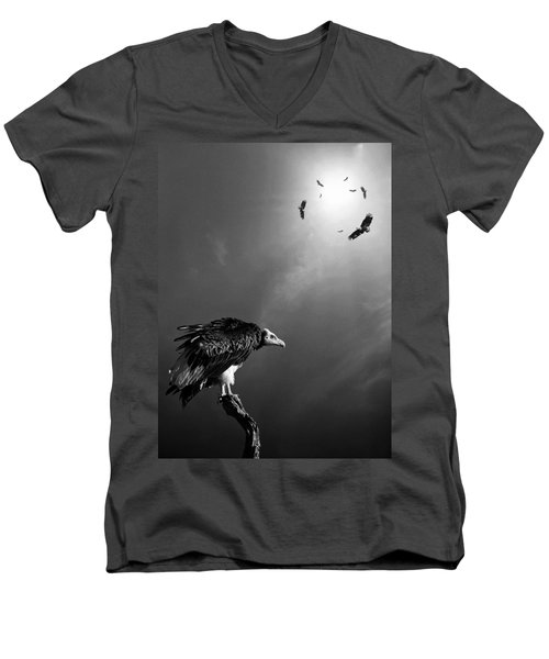 Conceptual - Vultures Awaiting Men's V-Neck T-Shirt by Johan Swanepoel