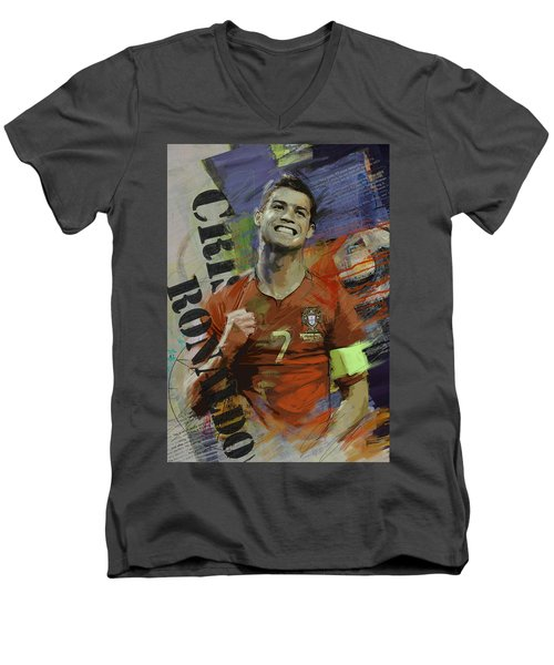 Cristiano Ronaldo - B Men's V-Neck T-Shirt by Corporate Art Task Force