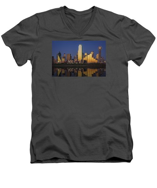 Dallas At Dusk Men's V-Neck T-Shirt by Rick Berk