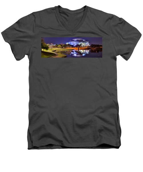 Dallas Cowboys Stadium At Night Att Arlington Texas Panoramic Photo Men's V-Neck T-Shirt by Jon Holiday