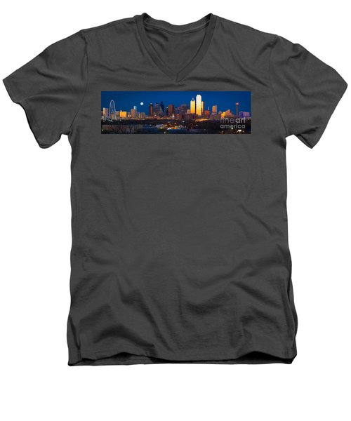 Dallas Skyline Panorama Men's V-Neck T-Shirt by Inge Johnsson