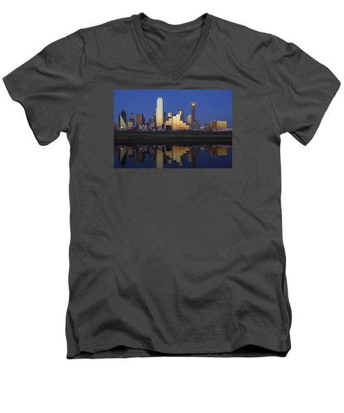 Dallas Twilight Men's V-Neck T-Shirt by Rick Berk