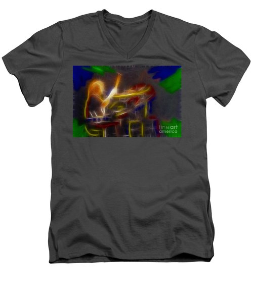 Def Leppard-adrenalize-gf24-ricka-fractal Men's V-Neck T-Shirt by Gary Gingrich Galleries
