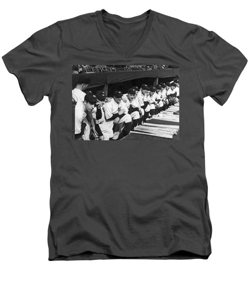 Dimaggio In Yankee Dugout Men's V-Neck T-Shirt by Underwood Archives