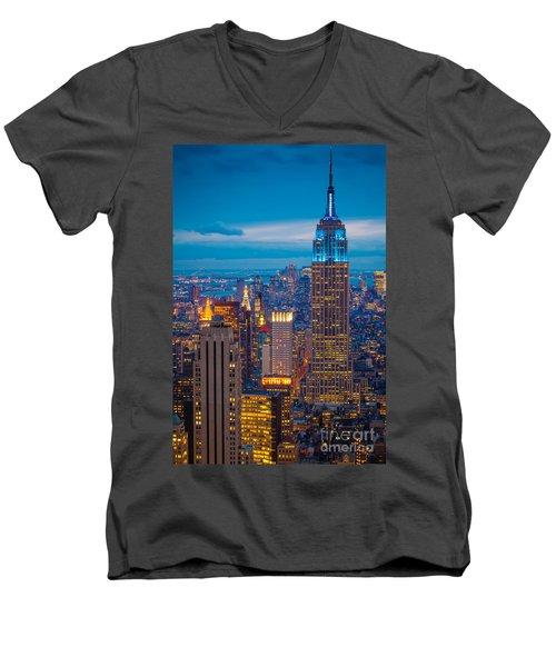 Empire State Blue Night Men's V-Neck T-Shirt by Inge Johnsson