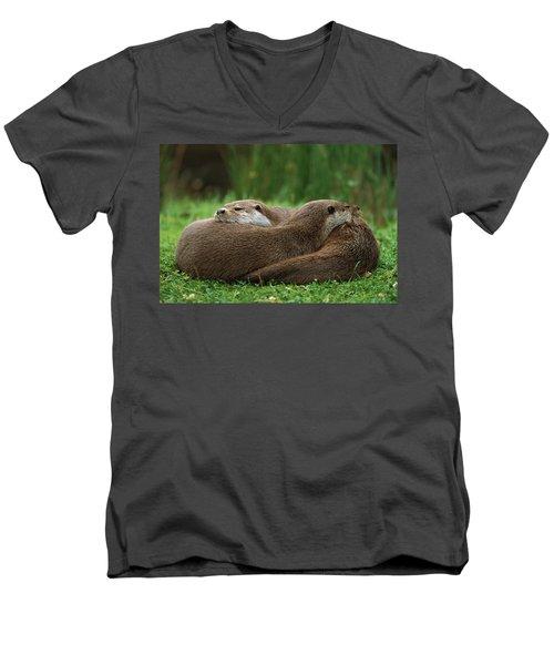 European River Otter Lutra Lutra Men's V-Neck T-Shirt by Ingo Arndt