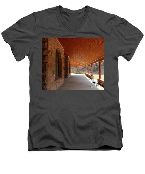 Men's V-Neck T-Shirt featuring the photograph Evans Porch by Bill Gabbert