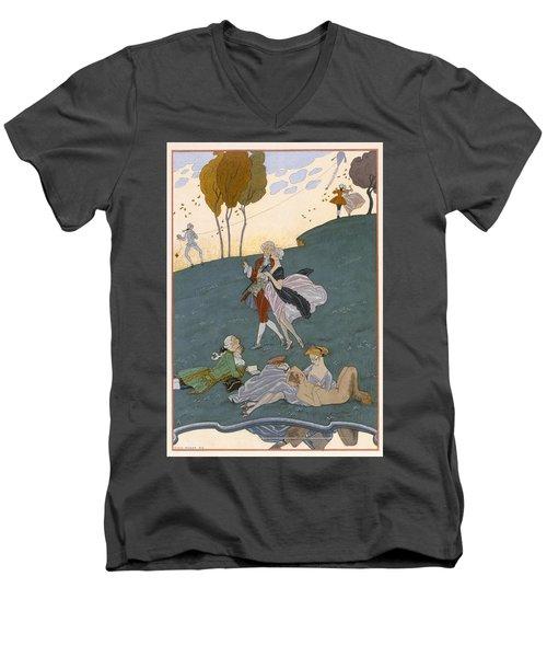Fetes Galantes Men's V-Neck T-Shirt by Georges Barbier