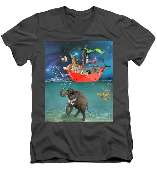 Floating Zoo Men's V-Neck T-Shirt by Juli Scalzi