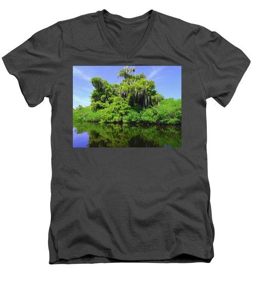 Florida Swamps Men's V-Neck T-Shirt by Carey Chen