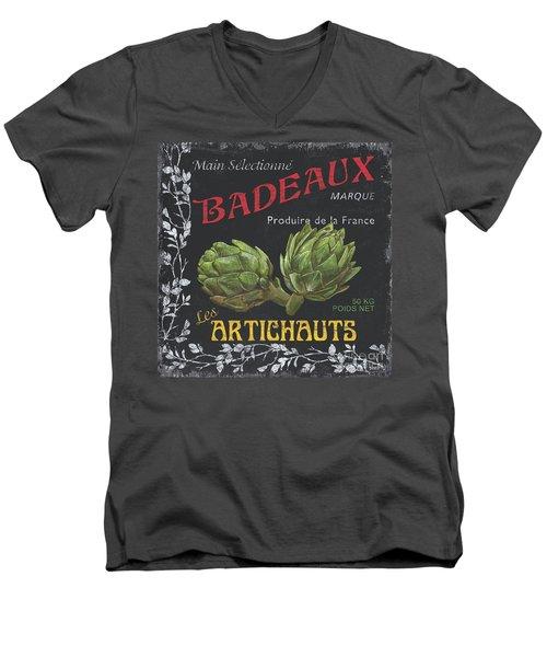 French Veggie Labels 1 Men's V-Neck T-Shirt by Debbie DeWitt