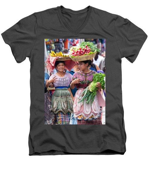 Fruit Sellers In Antigua Guatemala Men's V-Neck T-Shirt by David Smith