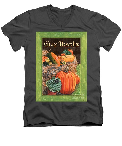 Give Thanks Men's V-Neck T-Shirt by Debbie DeWitt