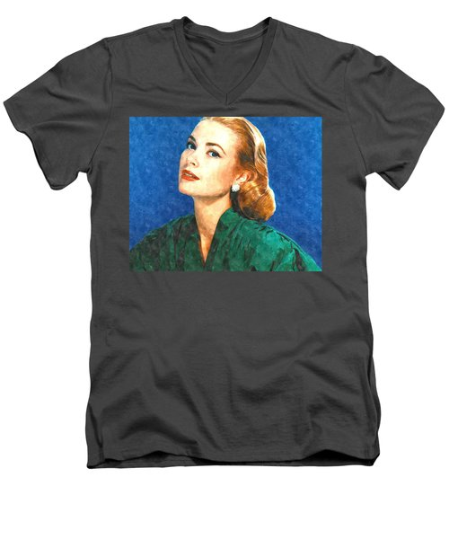 Grace Kelly Painting Men's V-Neck T-Shirt by Gianfranco Weiss