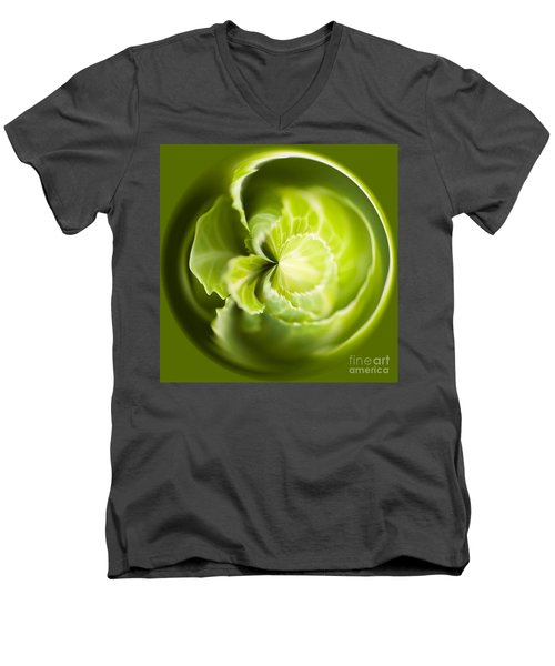 Green Cabbage Orb Men's V-Neck T-Shirt by Anne Gilbert