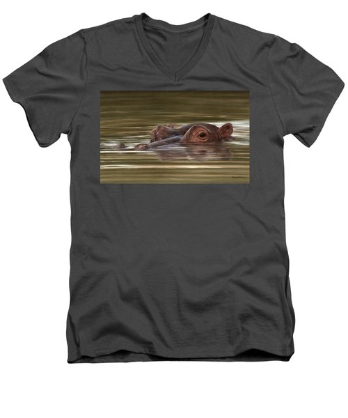 Hippo Painting Men's V-Neck T-Shirt by Rachel Stribbling