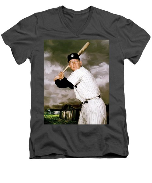 American Fabric   Mickey Mantle Men's V-Neck T-Shirt by Iconic Images Art Gallery David Pucciarelli
