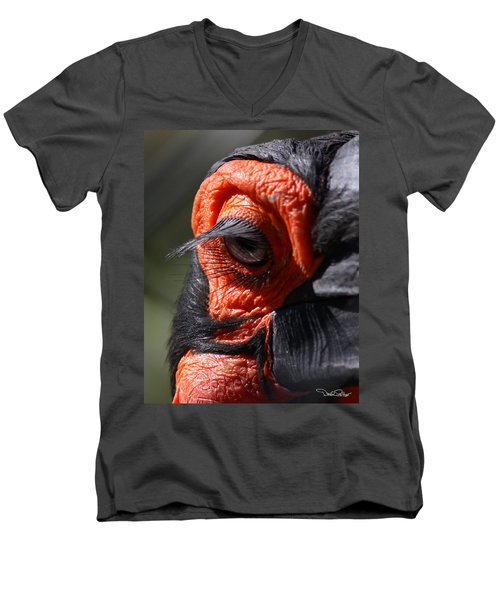 Hornbill Closeup Men's V-Neck T-Shirt by David Salter