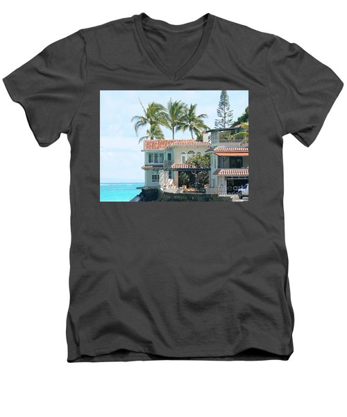 House At Land's End Men's V-Neck T-Shirt by Dona  Dugay