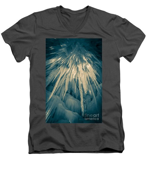 Ice Cave Men's V-Neck T-Shirt by Edward Fielding