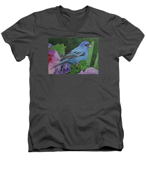 Indigo Bunting No 2 Men's V-Neck T-Shirt by Ken Everett