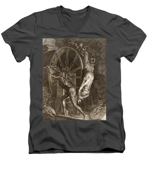 Ixion In Tartarus On The Wheel, 1731 Men's V-Neck T-Shirt by Bernard Picart