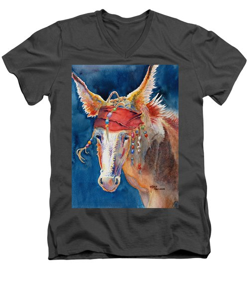 Jack Burro -  Donkey Men's V-Neck T-Shirt by Deb  Harclerode