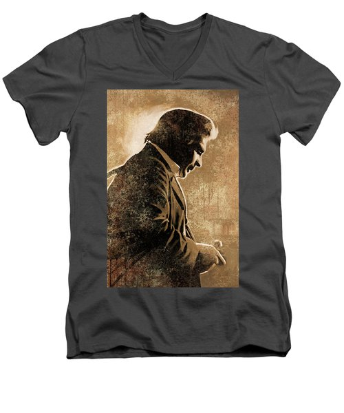 Johnny Cash Artwork Men's V-Neck T-Shirt by Sheraz A