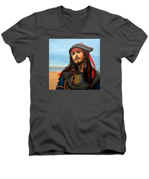 Johnny Depp As Jack Sparrow Men's V-Neck T-Shirt by Paul Meijering