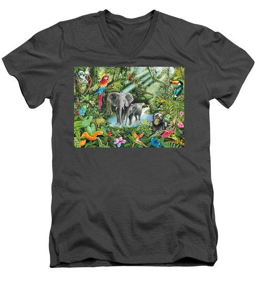 Jungle Men's V-Neck T-Shirt by Mark Gregory