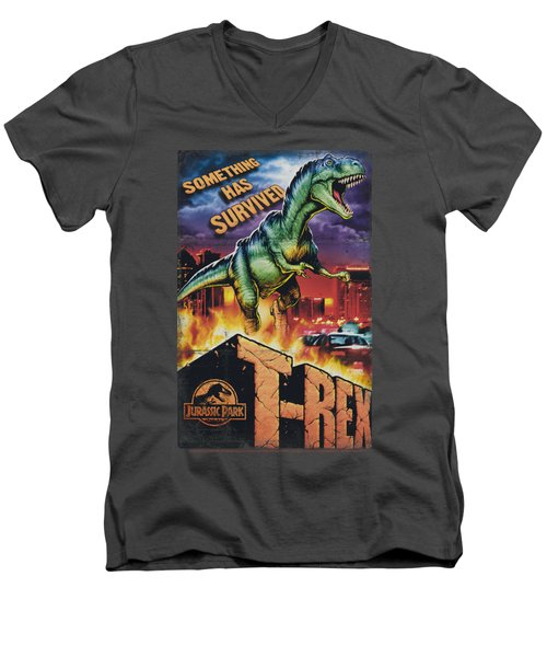 Jurassic Park - Rex In The City Men's V-Neck T-Shirt by Brand A