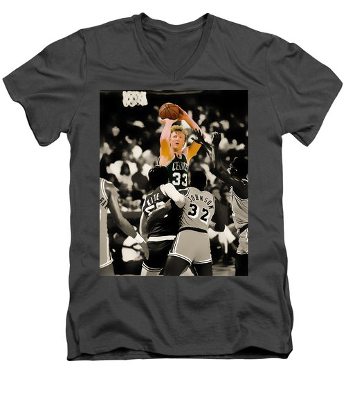 Larry Bird Men's V-Neck T-Shirt by Brian Reaves