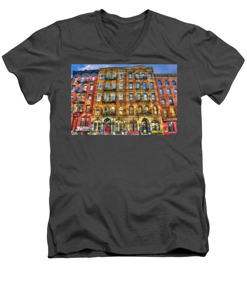 Led Zeppelin Physical Graffiti Building In Color Men's V-Neck T-Shirt by Randy Aveille