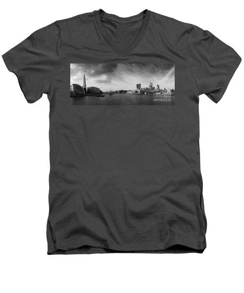 London City Panorama Men's V-Neck T-Shirt by Pixel Chimp