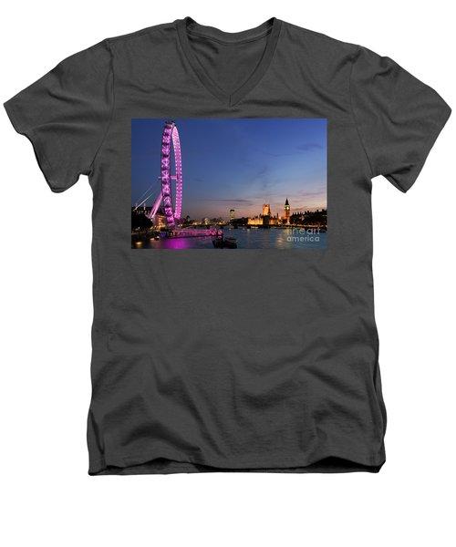 London Eye Men's V-Neck T-Shirt by Rod McLean