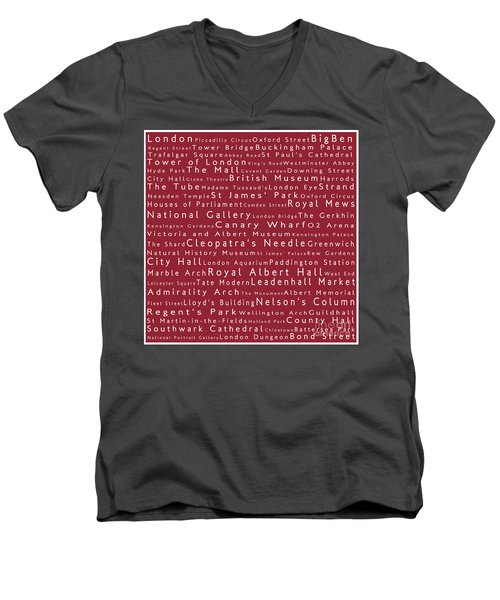 London In Words Red Men's V-Neck T-Shirt by Sabine Jacobs