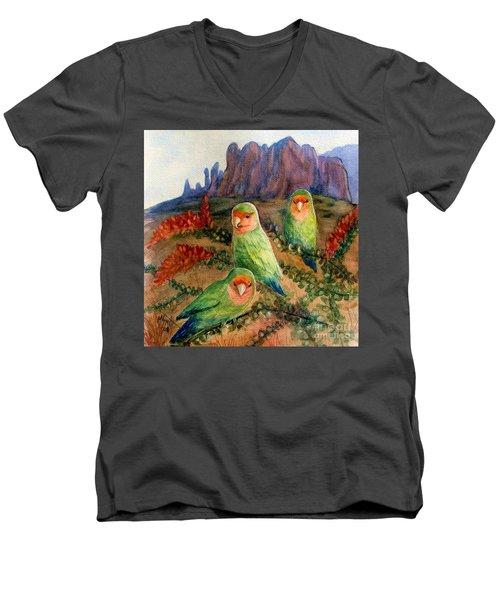 Lovebirds Men's V-Neck T-Shirt by Marilyn Smith