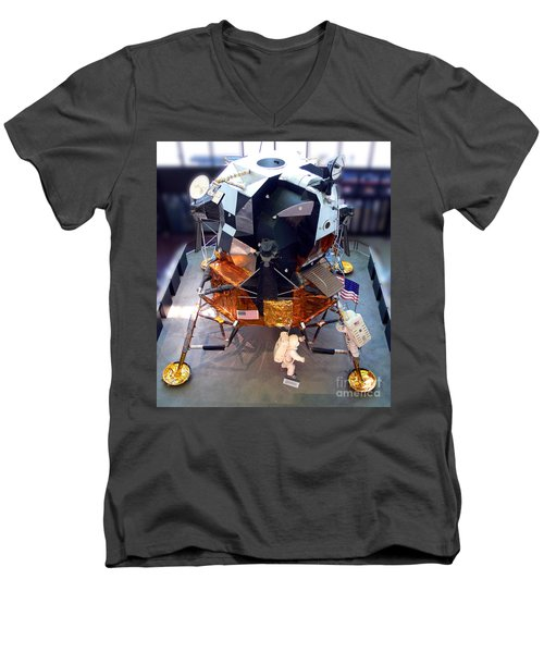 Lunar Module Men's V-Neck T-Shirt by Kevin Fortier