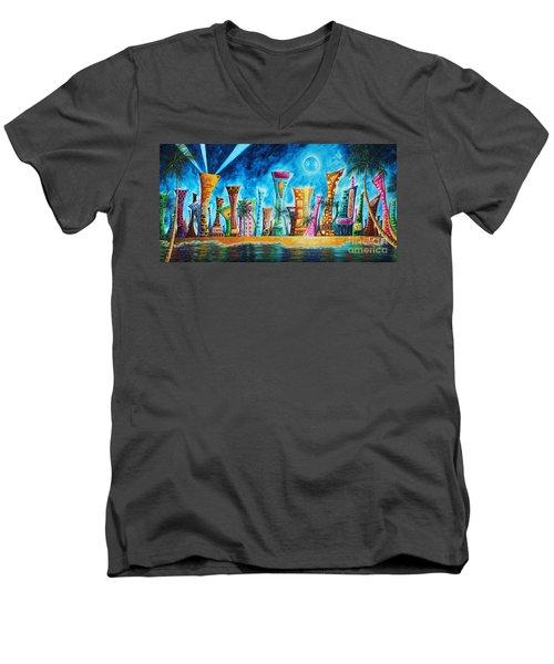 Miami City South Beach Original Painting Tropical Cityscape Art Miami Night Life By Madart Absolut X Men's V-Neck T-Shirt by Megan Duncanson