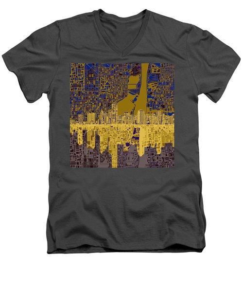 Miami Skyline Abstract 3 Men's V-Neck T-Shirt by Bekim Art