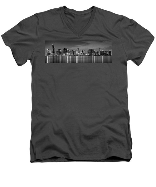 Miami Skyline At Dusk Black And White Bw Panorama Men's V-Neck T-Shirt by Jon Holiday