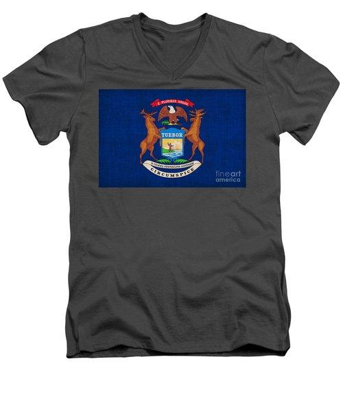 Michigan State Flag Men's V-Neck T-Shirt by Pixel Chimp