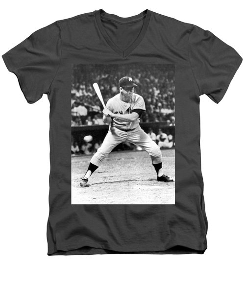 Mickey Mantle At Bat Men's V-Neck T-Shirt by Underwood Archives