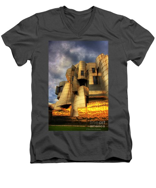 Minneapolis Skyline Photography Weisman Museum Men's V-Neck T-Shirt by Wayne Moran