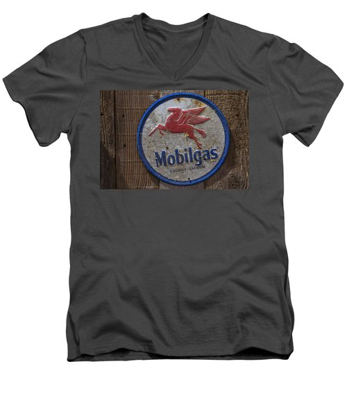 Mobil Gas Sign Men's V-Neck T-Shirt by Garry Gay