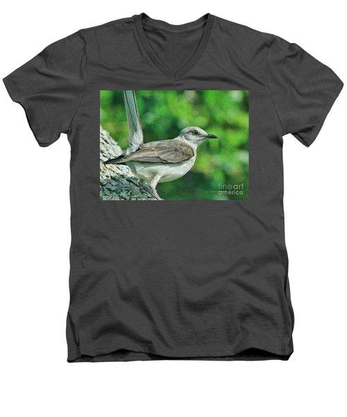 Mockingbird Pose Men's V-Neck T-Shirt by Deborah Benoit