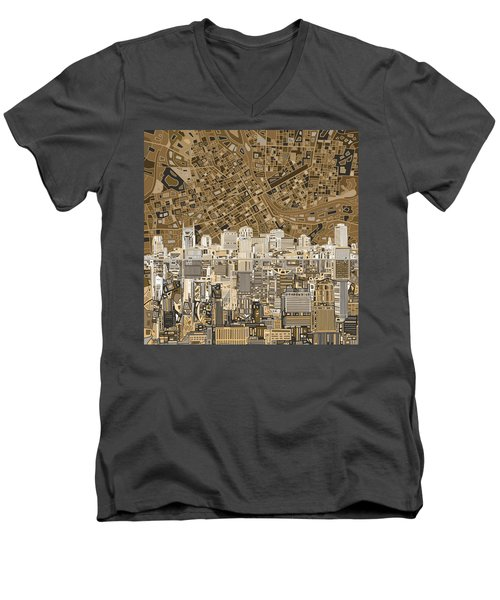 Nashville Skyline Abstract 2 Men's V-Neck T-Shirt by Bekim Art