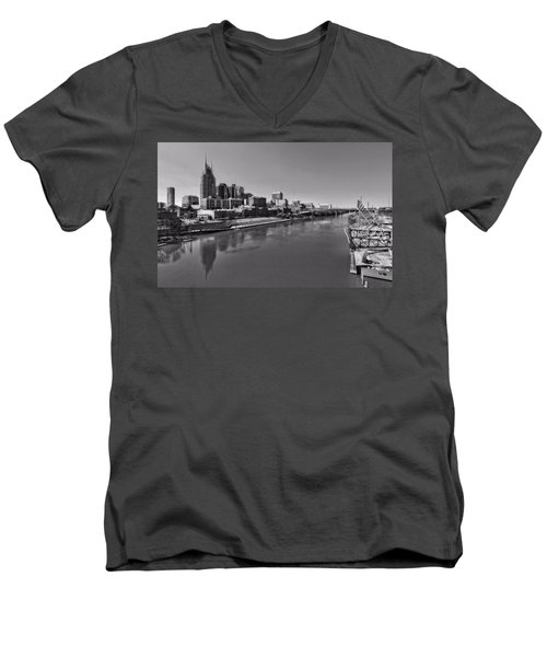 Nashville Skyline In Black And White At Day Men's V-Neck T-Shirt by Dan Sproul