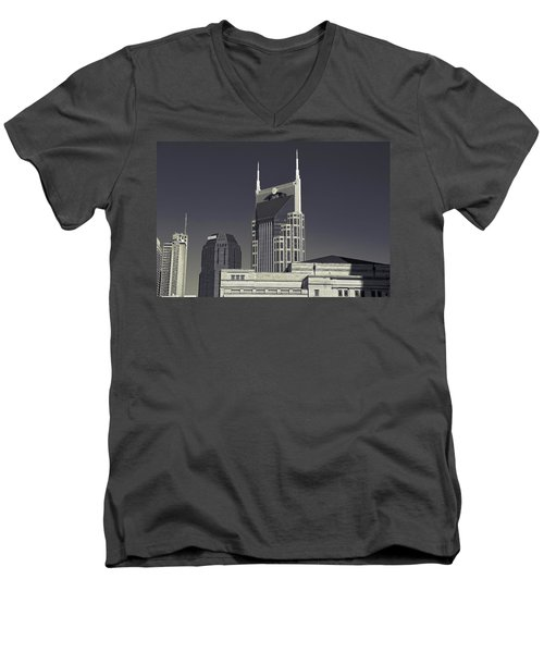 Nashville Tennessee Batman Building Men's V-Neck T-Shirt by Dan Sproul